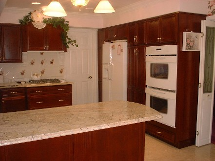 double wall oven and side by side refrigerator colonial - Kitchen Wall Oven Cabinets