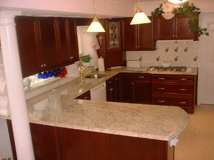 cherry vienna homecrest cabinets and granite colonial - Kitchen Remodel With White Appliances